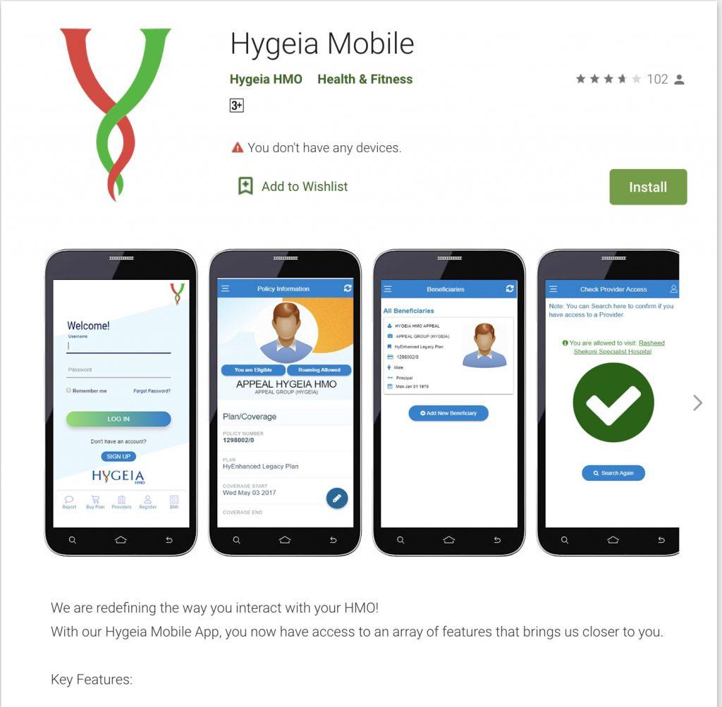Hygeia HMO Mobile App